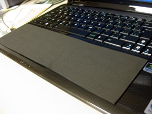 The foam cover that disables my touchpad and acts as a wrist rest.